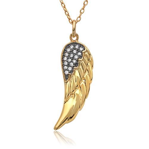Silberkette vergoldet mit Engelsflügel Zirkonia