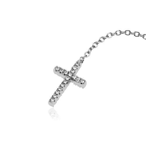 Y-Kette Sterlingsilber Kreuz Zirkonia