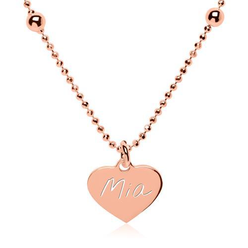 Rosévergoldete 925er Silberkette Herz gravierbar