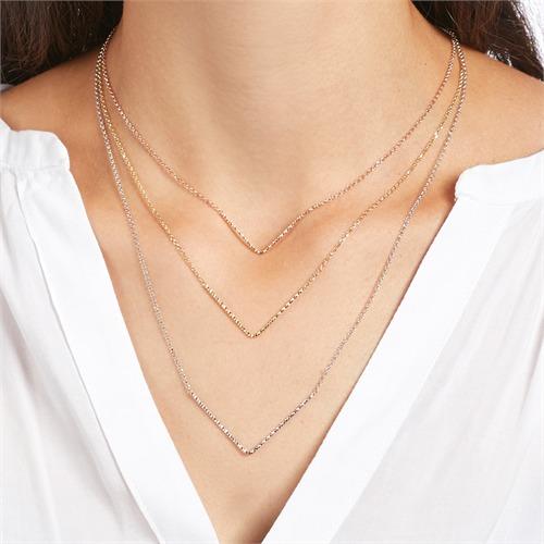 Mehrreihige Halskette aus 925er Silber tricolor