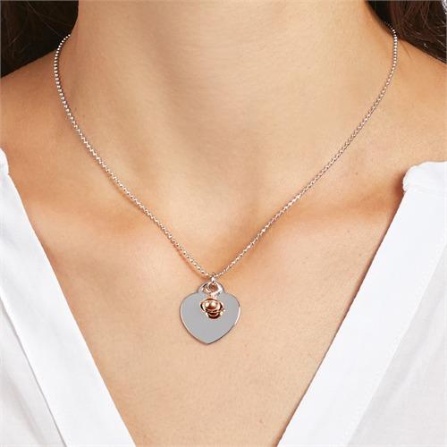 Gravierbare 925er Silberkette Herz Glöckchen roségold
