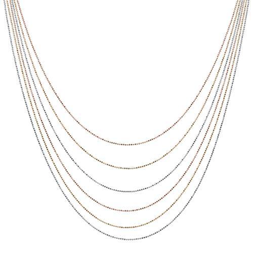 Tricolore 925er Silberkette mehrreihig