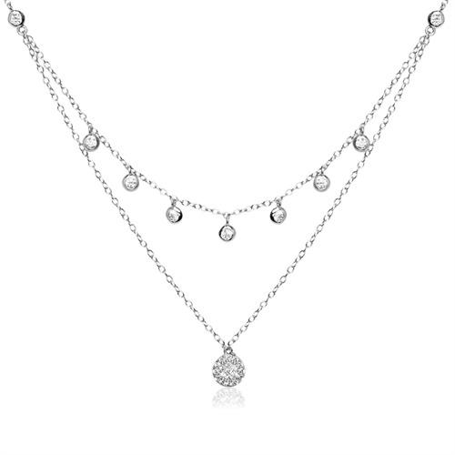 Ketten - Kette aus Sterlingsilber mit Zirkonia  - Onlineshop The Jeweller