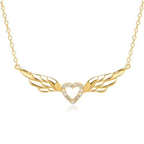 Kette geflügeltes Herz 925er Silber vergoldet Zirkonia