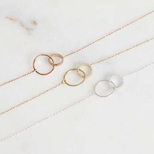 Vergoldete 925er Silberkette Kreise mit Zirkonia