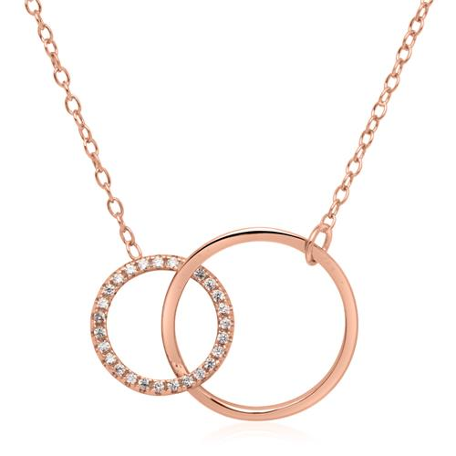 Kette Kreise aus rosévergoldetem 925er Silber Zirkonia