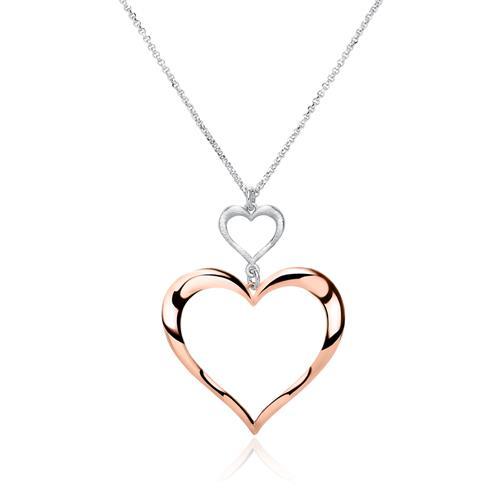 Kette aus 925er Silber mit Herz rosévergoldet