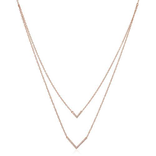 Layerkette V aus 925er Silber rosévergoldet Zirkonia