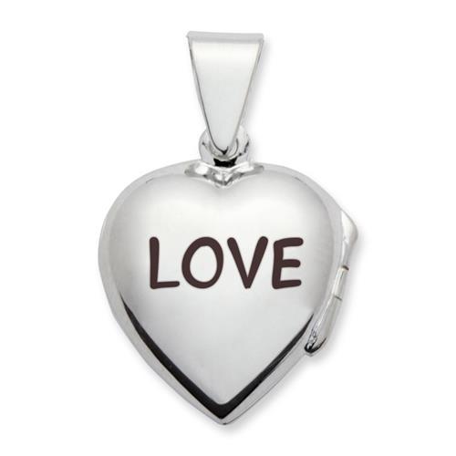 Anhänger Silber Herzform Medaillon Zirkonia