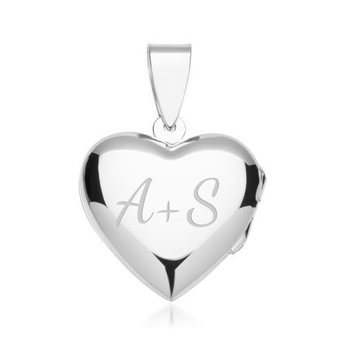 925 Silberkette mit Medaillon in Herzform