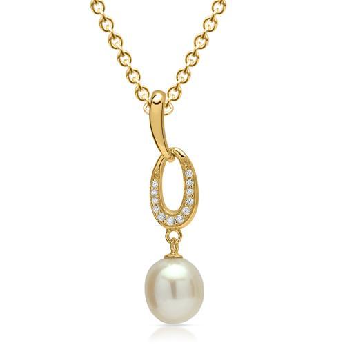Vergoldeter Silberanhänger Perle und Zirkonia