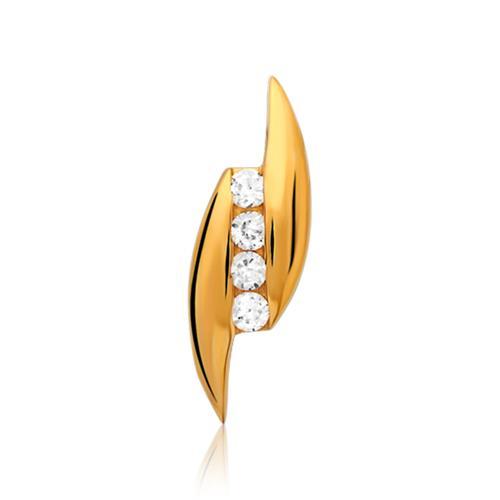 925er Silberkette mit Anhänger vergoldet Zirkonia