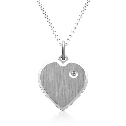 Silberkette Herzanhänger mit Stein
