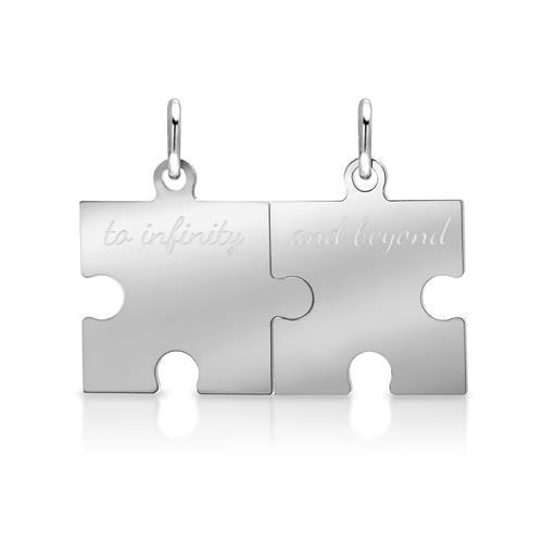 925 Silber Partneranhänger Puzzleteil poliert
