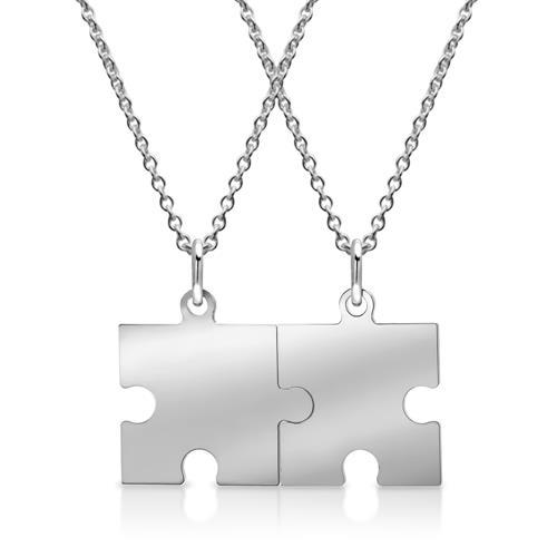 925er Silberkette mit Puzzleanhänger