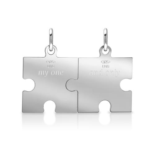 Silber Partneranhänger Puzzleteil teillackiert
