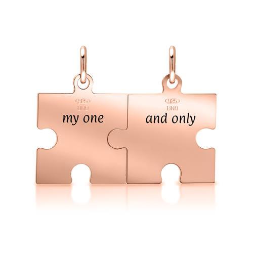925er Silber Anhänger-Set Puzzleteile rosé