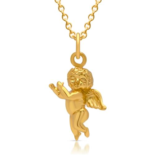 Kette 925er Silber vergoldet Engelsanhänger