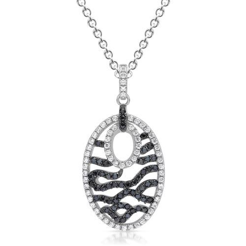 Ovaler Anhänger Silber mit Zirkonia-Pavee