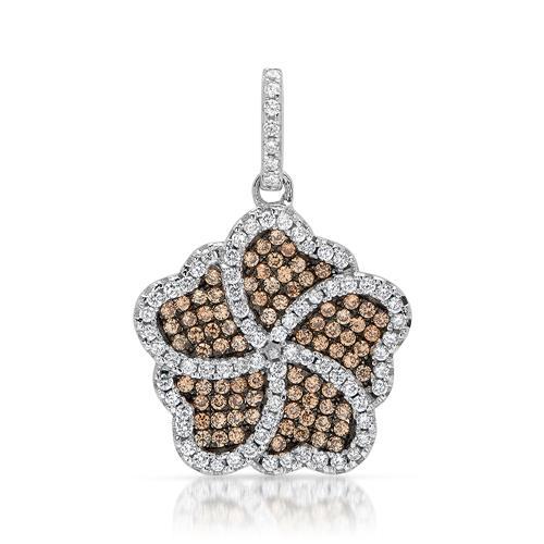 Silberanhänger abstrakte Blütenform Zirkonia