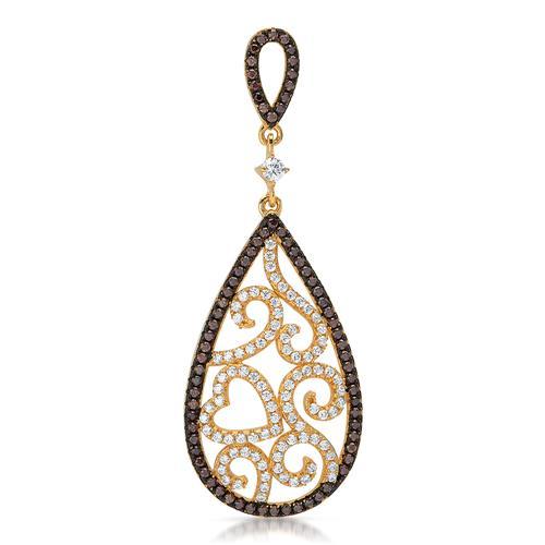 Tropfenförmiger Silberanhänger florales Design
