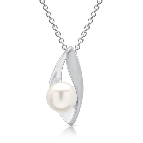 Geschwungener 925 Silber Anhänger mit Perle