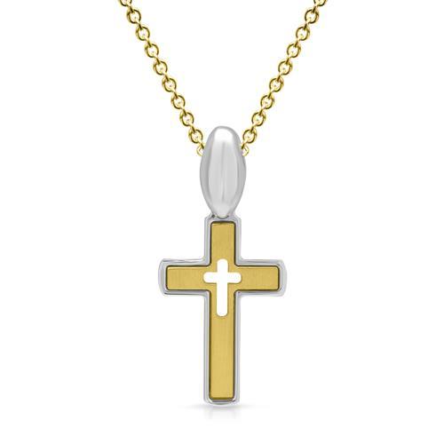 Kreuz-Anhänger aus 925er Silber teilvergoldet