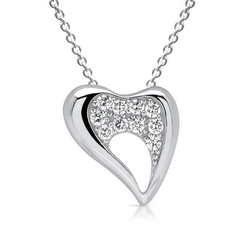 Silberanhänger geschwungenes Herz mit Steinen