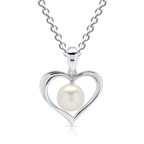 925er Sterling Silber Anhänger Herz mit Perle