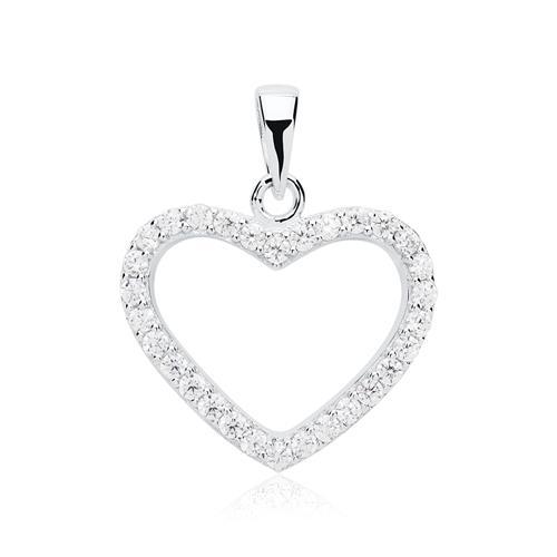 925er Silberkette mit steinbesetztem Herz
