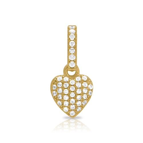 925 Silber Kette Herz vergoldet Zirkonia