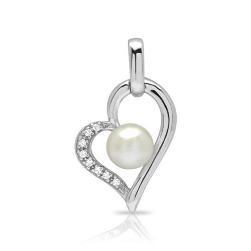 925 Silberkette Herz Perle Zirkonia