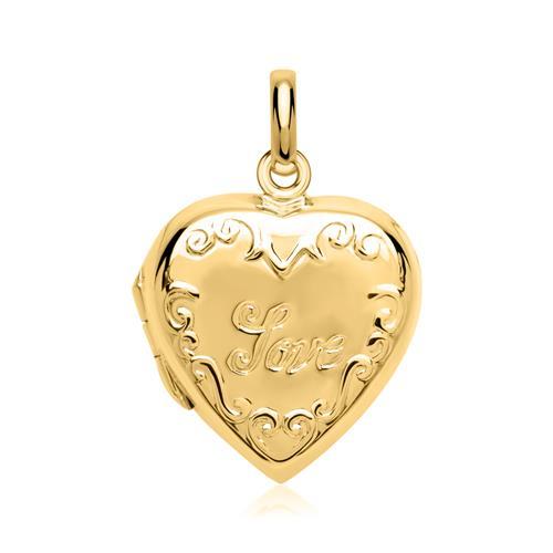 925er Silber Medaillon Inschrift Love vergoldet