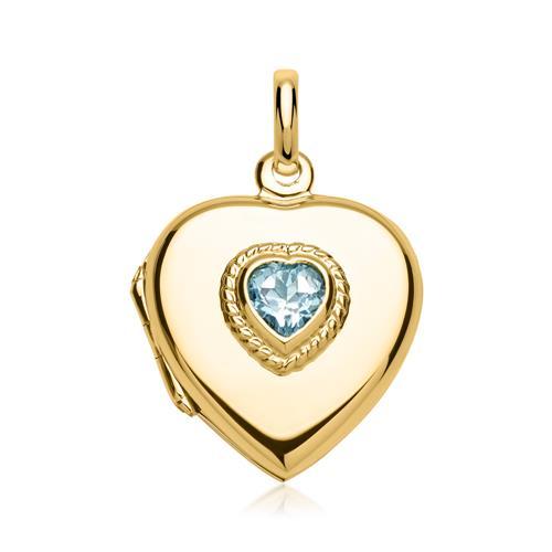 Kette mit Herz-Medaillon blauer Stein gravierbar