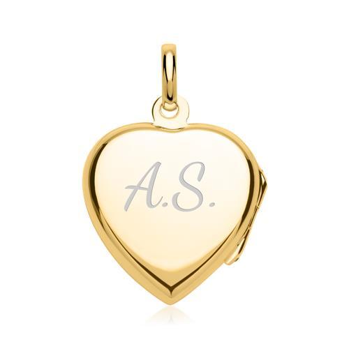 Herz-Medaillon blauer Stein vergoldet gravierbar