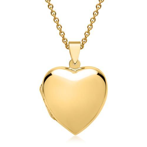 Großes Herzmedaillon vergoldet poliert