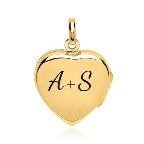 Kette mit poliertem Herzmedaillon vergoldet