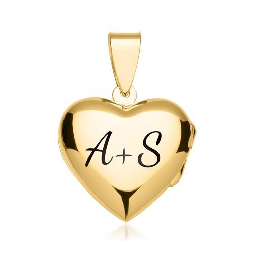 Kette mit Herzmedaillon verziert vergoldet