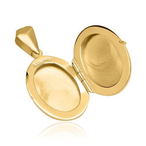 Kette mit ovalem Medaillon silber vergoldet