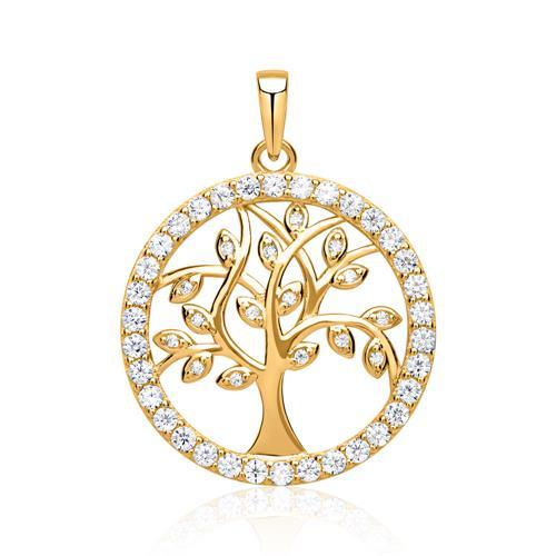 Vergoldeter Lebensbaum Anhänger silber