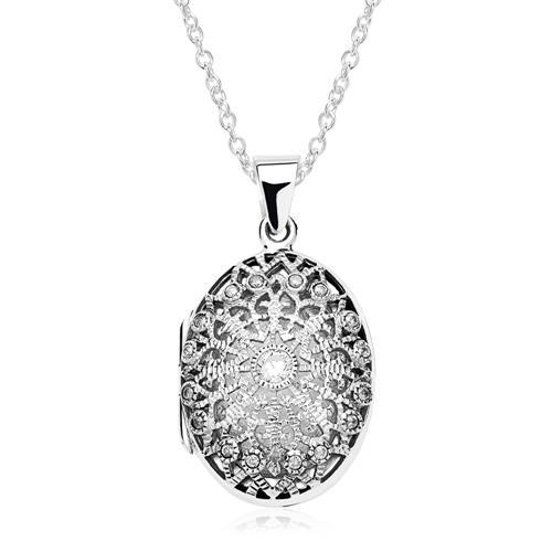 925er Silber Gravur Medaillon mit Zirkonia