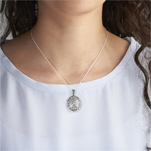 925er Silber Medaillon Gravur inklusive Kette
