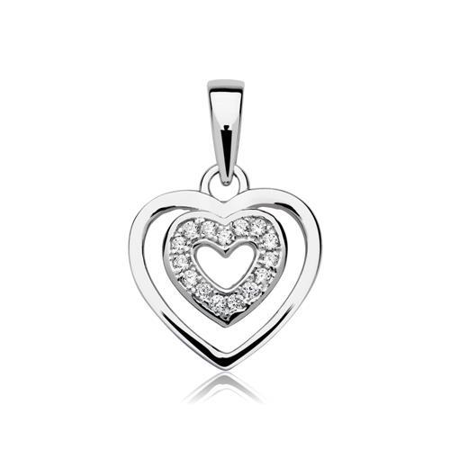 Kette Herz Anhänger 925er Silber Zirkonia