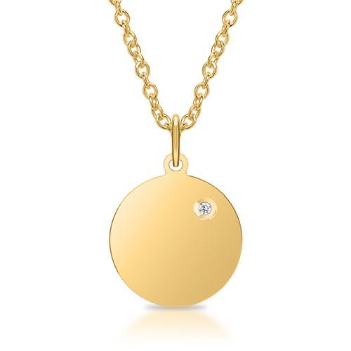 Kette Anhänger 925er Silber IP Gold Diamant