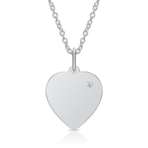 Kette Gravur Anhänger 925er Silber Diamant