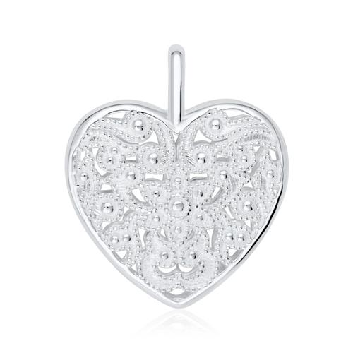 Florales Herz Medaillon aus 925er Sterlingsilber