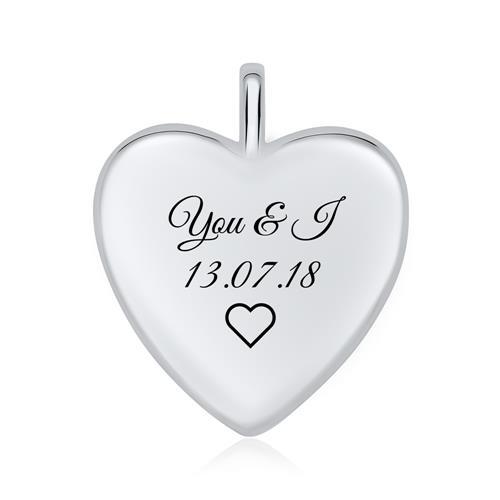 Herz Medaillon Engelsflügel aus 925er Silber gravierbar