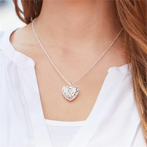 925er Silber Kette mit Medaillon Herz