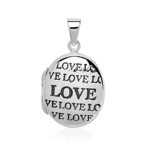 Kette und Medaillon Love aus Sterlingsilber gravierbar