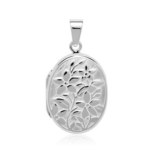 Gravierbares Medaillon Blumen aus Sterlingsilber